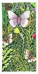 Butterflies In The Millefleurs Bath Towel