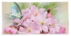 Butterfly On Cherry Blossom Hand Towel