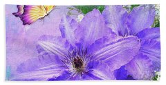 Butterfly On Clematis Hand Towel