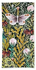 Butterfly Tapestry Design In Mustard, Red And Green Bath Towel