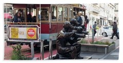 Cable Car And Paparazzi Dogs Bath Towel