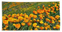 California Golden Poppies And Goldfields Hand Towel