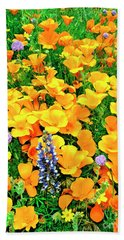 California Poppies And Betham Lupines Southern California Hand Towel