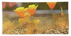 Californian Poppies On Basket Weave Hand Towel