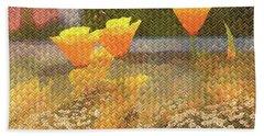Californian Poppies On Basket Weave Bath Towel