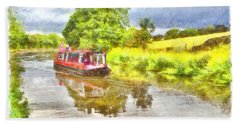 Canal Boat On The Leeds To Liverpool Canal Hand Towel