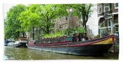 Canal Boats In Amsterdam - 2 Bath Towel