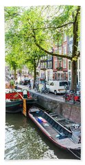 Canal Boats In Amsterdam Hand Towel