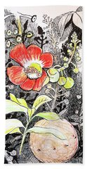 Bath Towel featuring the drawing Cannonball Flower Botanical by Tilly Strauss