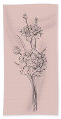 Carnation Blush Pink Flower Bath Towel