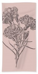 Carnations Bush Pink Flower Bath Towel
