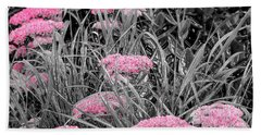 Carved Pink Butterfly Bush Hand Towel