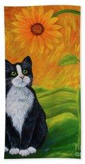 Cat And Sunflower Bath Towel