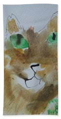 Bath Towel featuring the drawing Cat Face Yellow Brown With Green Eyes by AJ Brown