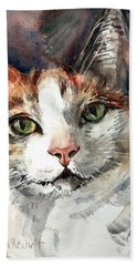 Cat In Watercolor Bath Towel