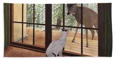 Cat Meets Deer Bath Towel