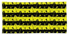 Cats Eye Yellow And Black Halloween Nightmare Stripes  Bath Towel