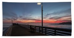 Cayucos Pier Sunset Hand Towel