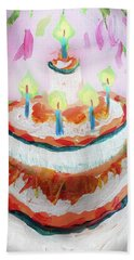 Bath Towel featuring the painting Celebration Cake by Tilly Strauss