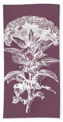 Celosia Purple Flower Bath Towel