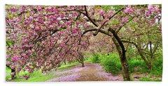 Central Park Cherry Blossoms Bath Towel