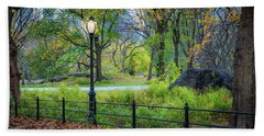 Central Park Streetlight Bath Towel