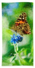 Chalky Painted Lady Butterfly Hand Towel