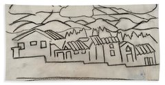 Charcoal Houses Sketch Hand Towel
