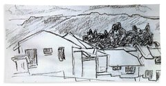 Charcoal Pencil Houses.jpg Hand Towel