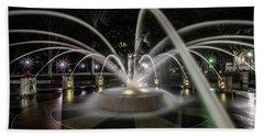 Charleston's Splash Fountain At Night Bath Towel