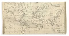 Chart Of Magnetic Curves Of Equal Variation - Antique World Map - Cartography Hand Towel