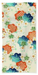 Cherry Blossoms And  Fallen Leaf- Japanese Traditional Pattern Design Bath Towel