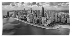 Chicago Gold Coast Aerial Panoramic Bw Bath Towel