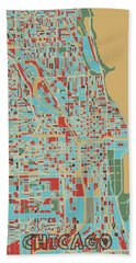 Chicago Map Retro 3 Hand Towel