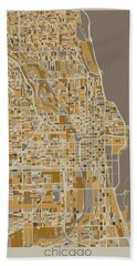 Chicago Map Retro 4 Hand Towel