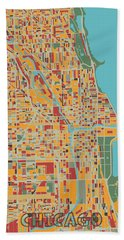 Chicago Map Retro Hand Towel