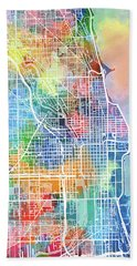 Chicago Map Watercolor Hand Towel
