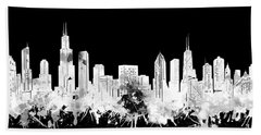Chicago Skyline Black And White 2 Hand Towel