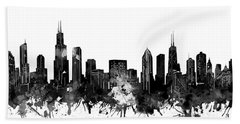 Chicago Skyline Black And White Hand Towel