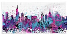 Chicago Skyline Color Splatter Hand Towel