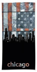 Chicago Skyline Flag 3 Hand Towel