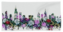 Chicago Skyline Floral Hand Towel