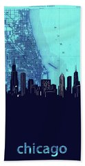 Chicago Skyline Map Blue 2 Hand Towel