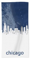 Chicago Skyline Map Blue Hand Towel