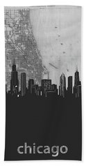 Chicago Skyline Map Grey Hand Towel