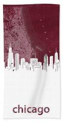 Chicago Skyline Map Red Hand Towel