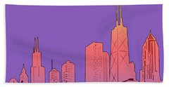 Chicago Skyline Panorama Purple Hand Towel