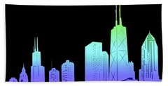 Chicago Skyline Panorama Rainbow Hand Towel