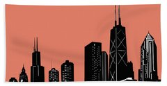 Chicago Skyline Panorama Red Hand Towel