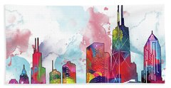 Chicago Skyline Panorama Watercolor 2 Hand Towel
